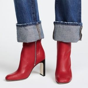 rag & bone Red Leather Ankle Booties Boots